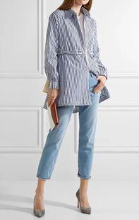 6027米兰新街zui好品质给到时髦抽绳收腰拉链条纹棉布外套风衣