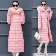 2018冬装棉衣女长款过膝加厚羽绒棉服大码大毛领外套