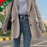 高腰牛仔裤女裤子2021年夏季薄款紧身显瘦显高小脚九分铅笔裤