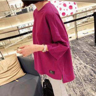 欧货大版t恤 秋冬纯棉七分袖开叉洋气打底衫时尚百搭心机女上衣