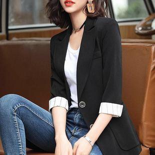 两粒扣中长款小西装女七分袖外套修身显瘦格子西服大口袋抗皱耐脏