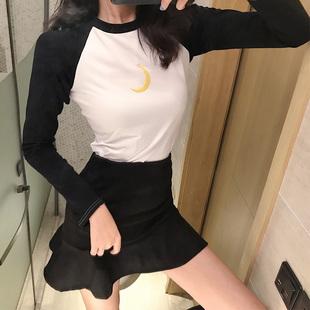 时尚套装女拼色长袖T恤秋冬季高腰荷叶边半身裙短裙两件套潮