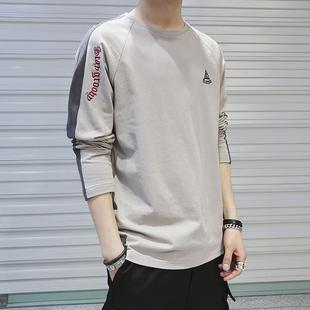 长袖T恤男2019春夏潮流打底衫男士圆领纯棉上衣男装