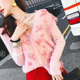 针织外套女2019春季羊毛V领长袖外搭蕾丝粉色百搭开衫薄
