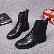 欧洲站女鞋2018秋冬欧货真皮系带马丁靴侧拉链低跟欧美短靴女
