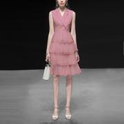 夏装2019女装粉色气质西装裙子收腰显瘦中长款纱裙连衣裙