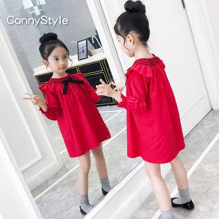 女童连衣裙洋气春装2019童装儿童红色裙子大童纯棉长袖娃娃裙