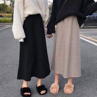 秋冬2018学生格子中长款A字裙半身长裙ins超火的裙子女装