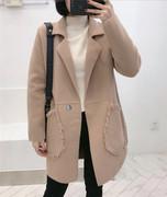 欧洲站2018冬季时尚宽松显瘦口袋中长款羊绒呢料外套女