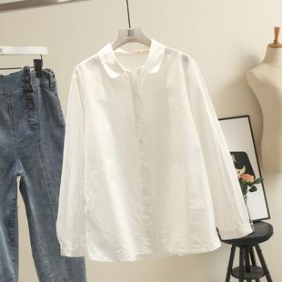 大码女装百搭衬衫200斤胖mm加肥加大宽松遮肉显瘦白色衬衣上衣