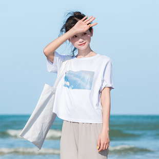 原创布衣酱小清新印花t恤女短袖白色打底衫夏装2019潮宽松