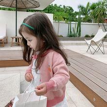 女童针织开衫2021春装洋气儿童毛衣春秋女宝宝小童针织衫外套