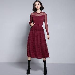 2018冬季女装蕾丝网纱过膝长裙长袖层层蛋糕裙打底连衣裙
