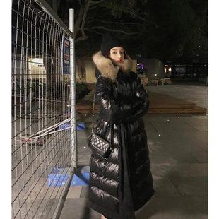 雪梨钱夫人 过膝中长款大毛领羽绒服女2018两面穿鹅绒服外套