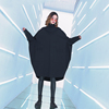 大码女装显瘦中长款斗篷连衣裙秋冬2018高领卫衣个性双口袋