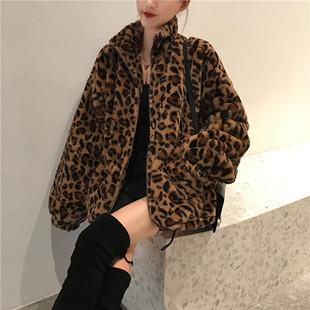 豹纹外套女装欧美时尚冬季2018网红加厚宽松毛绒大衣