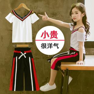 女童2019夏季亲子女孩网红套装中大童时髦运动儿童装洋气棉潮