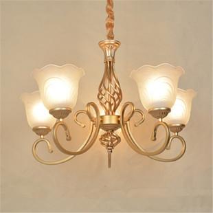 欧式黄铜色铁艺吊灯客厅卧室餐厅门厅简约美式大气灯饰