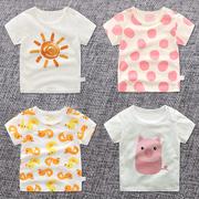 男小童女童夏季1女宝宝0婴儿上衣短袖t恤儿童夏装纯棉半袖童装3岁