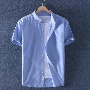 帝族夏薄款纯棉牛津纺男装短袖衬衫男士全棉牛仔半袖衬衣