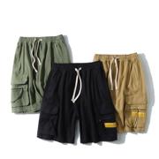 大王古力日系简约BF纯色工装裤 多口袋宽松显瘦中裤显瘦短裤
