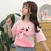 2019夏纯棉韩系百搭圆领卡通印花宽松短袖T恤女学生粉色上衣