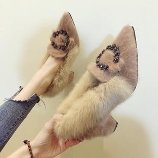 网红毛毛鞋女冬外穿2018秋冬季冬天百搭小清新高跟鞋粗跟单鞋