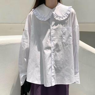 百思朵甜美日系娃娃领白衬衫仙女小众设计感纯棉长袖上衣宽松外套