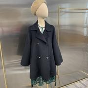 2019春装茧型磨砂双排扣显瘦中长款双面羊绒大衣H11