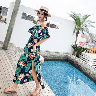 波西米亚海边度假沙滩裙女夏季两穿一字领雪纺连衣裙碎花开叉长裙