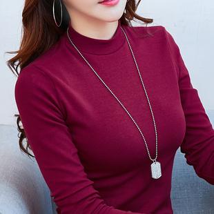 2018秋冬显瘦加绒加厚保暖半高领打底衫女T恤长袖上衣潮