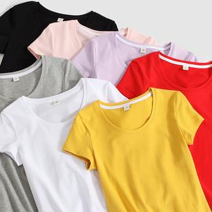 纯棉白色短袖t恤女2019夏装紧身ins半袖韩范上衣黑体恤潮