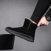 雪地靴男冬季加绒加厚保暖棉鞋真皮毛一体短筒面包鞋短靴子棉靴男