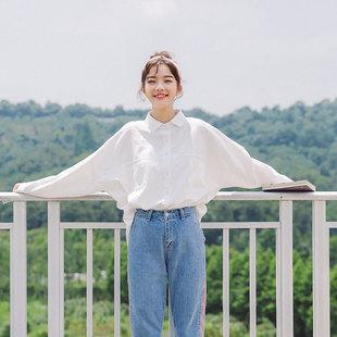 慕妞2019春季学生文艺风白色长袖衬衣宽松上衣女衬衫