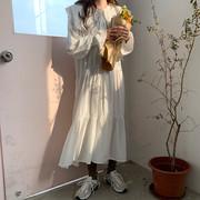 早春减龄气质娃娃领长袖雪纺连衣裙女宽松显瘦荷叶边过膝长裙