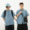 阳光工装青年学院风清新雾霾蓝口袋贴布短袖衬衫夏薄衬衣外套男女