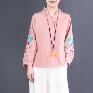 自然小铺 民族风女装刺绣棉麻上衣宽松V领盘扣2019春装衬衫