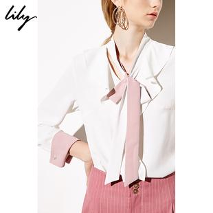 Lily2019春拼色荷叶边系带白色长袖套头衬衫雪纺衫8922
