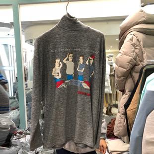 韩国东大门2018冬女高领打底衫卡通印花纯棉长袖t恤衫