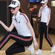 夏季女士短袖运动服卫衣套装女夏天春秋2019潮宽松两件套