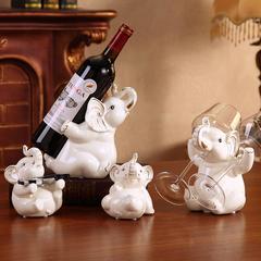创意酒柜装饰品欧式红酒架摆件现代简约家居客厅陶瓷招财大象摆设