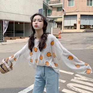 长袖t恤女ins潮夏季2019印花薄款防晒上衣宽松泫雅打底衫