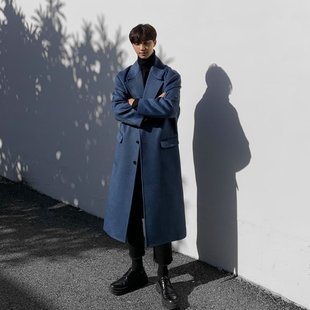 蓝色大衣男长款过膝帅气英伦风韩版潮流冬季加厚毛呢风衣呢子外套