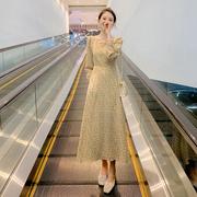 碎花连衣裙女秋装2021年收腰显瘦气质法式方领长袖雪纺裙子潮