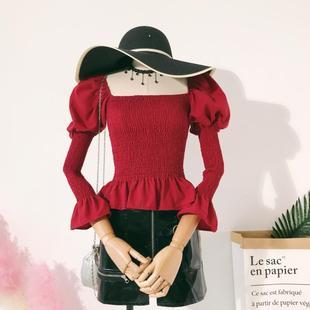 欧美风复古纯色方领泡泡袖全身褶皱荷叶下摆设计感紧身衬衫上衣女