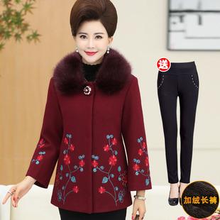 妈妈装冬装毛呢外套女加厚中年妇女短款棉衣中老年人女装洋气衣服