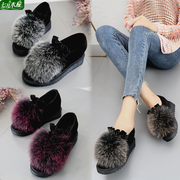 狐狸毛毛鞋内增高2018秋季鞋子厚底单鞋平底鞋女鞋冬季高跟鞋