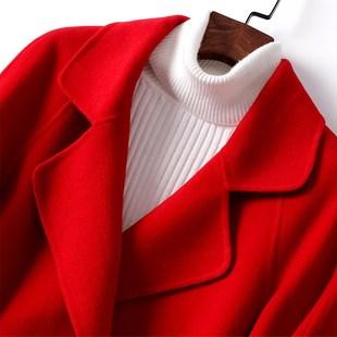 双面羊呢大衣春秋款双面绒外套女中长款酒红色插肩九分袖呢子大衣