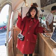 2018秋冬装赫本风中长款小个子毛呢子大衣宽松加厚毛呢外套女