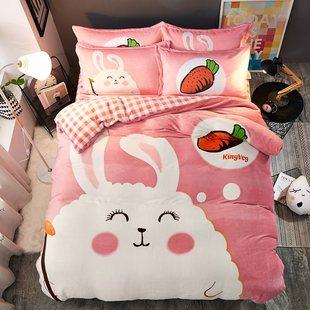 绿色床有奶牛婴儿床单人床四件套冬季珊瑚绒长毛绒乘黄色7